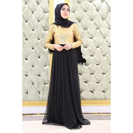 Women's Gold Sequin Top Black Evening Dress