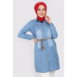 Women's Wooden Button Belted Denim Tunic