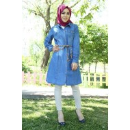 Women's Belted Wooden Button Denim Tunic