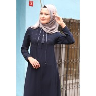 Women's Zipped Navy Blue Full Coat