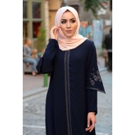 Women's Embroidered Navy Blue Full Coat