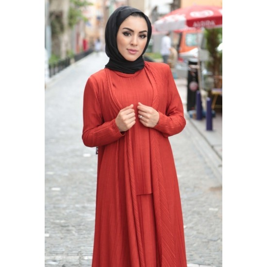 Women's Tile Red Tunic Skirt Cardigan Set