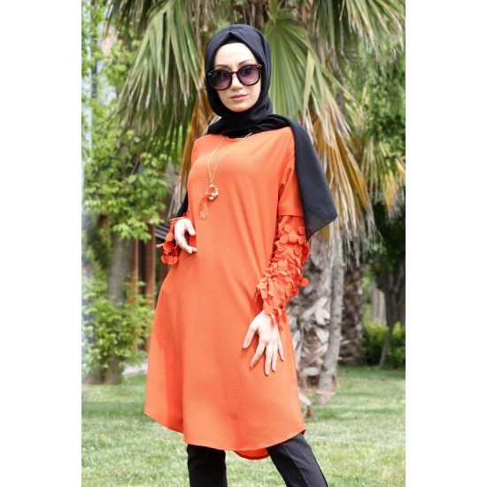 Women's Necklace Accessory Laser Cut Sleeves Tunic